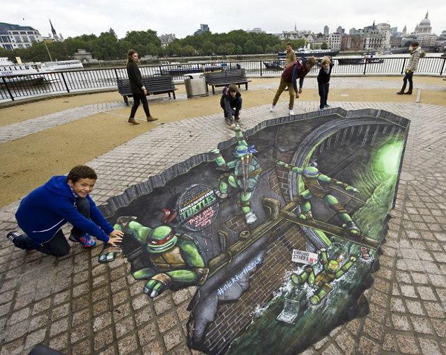 TMNT 3D street art