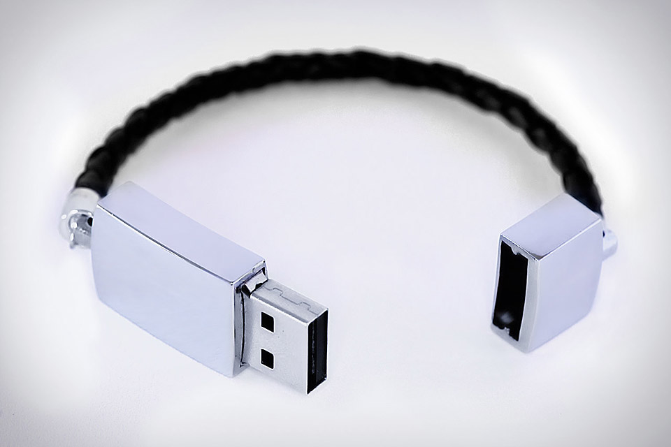 USB Leather Braided Bracelet