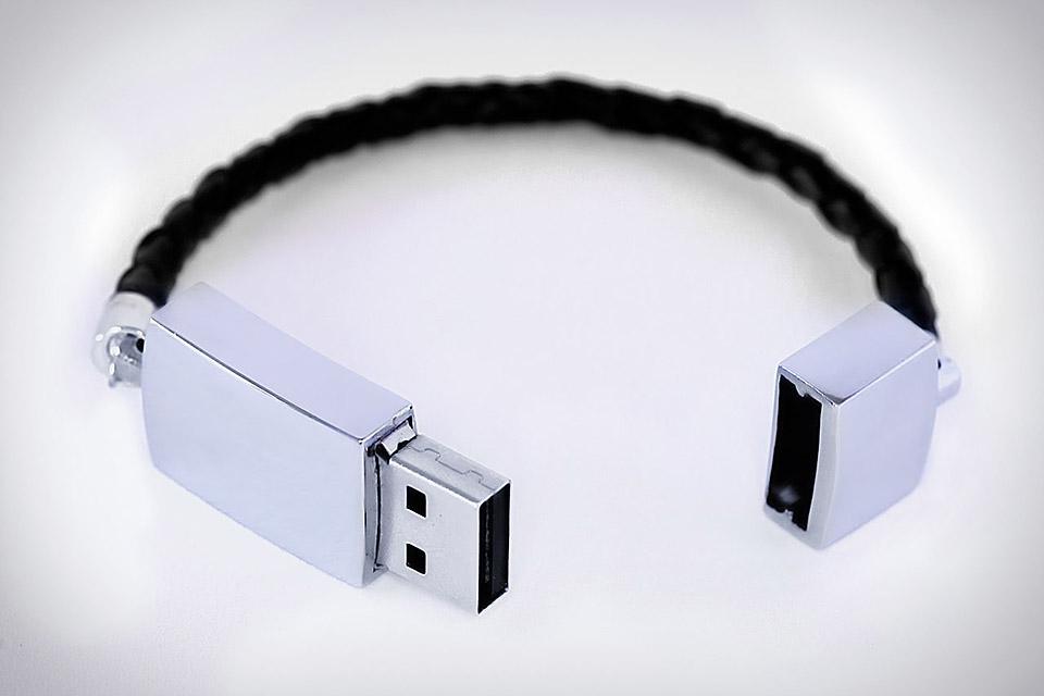 USB Leather Braided Bracelet