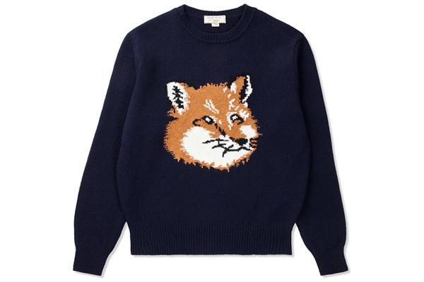 Maison Kitsune Navy Fox Head Pullover