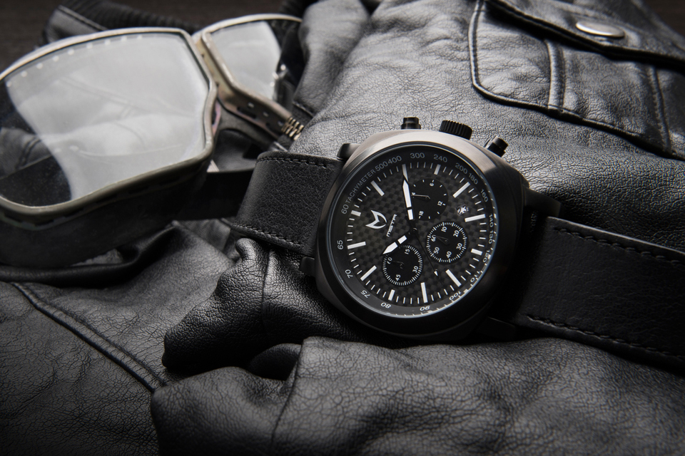 PVD Black with Black Leather Band Watch by Meister