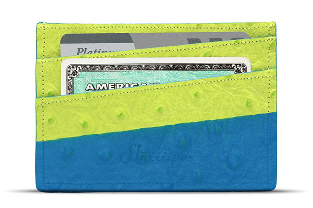 Striiiipes Green Ostrich Cardholder