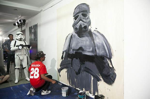 Robert Vargas Painting Stormtrooper Mural