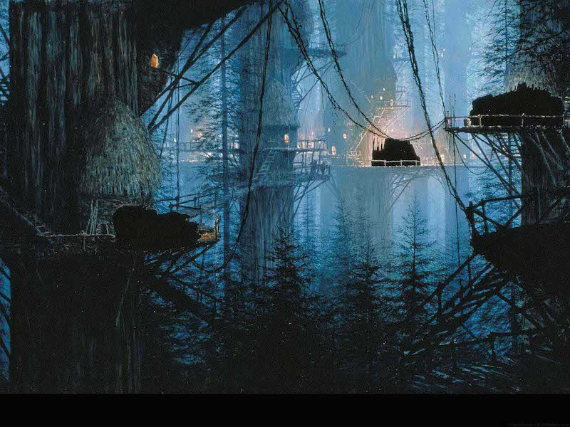 Star Wars Background Painting: Endor Tree Huts