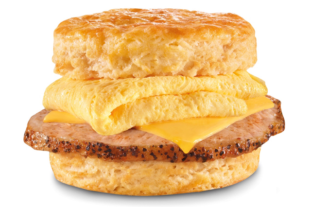 Carl's Jr. and Hardee's Grilled Pork Chop, Egg, Cheese, and Biscuit Sandwich