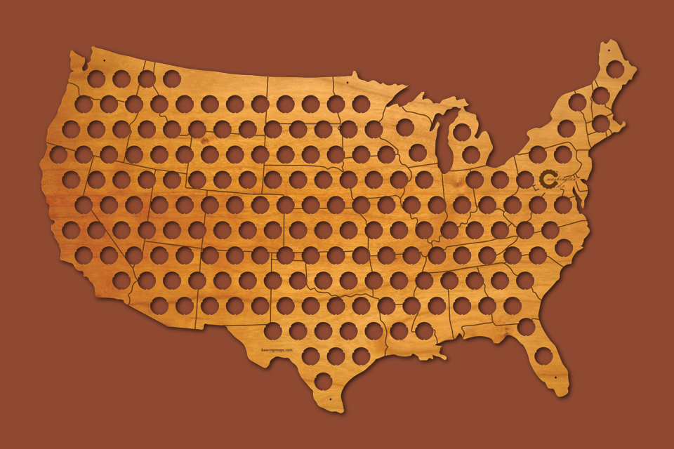 Beer Cap Map of USA