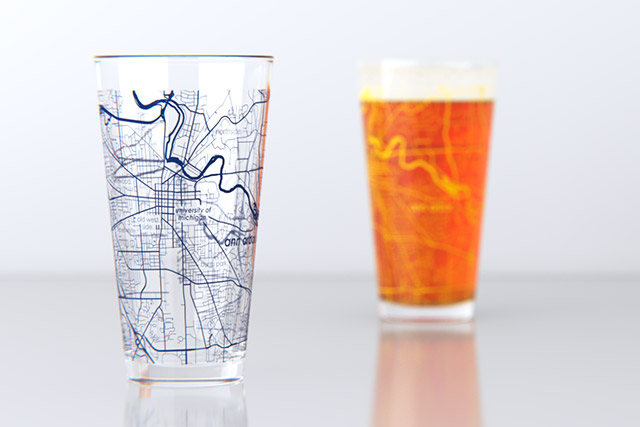University of Michigan College Map Pint Glass
