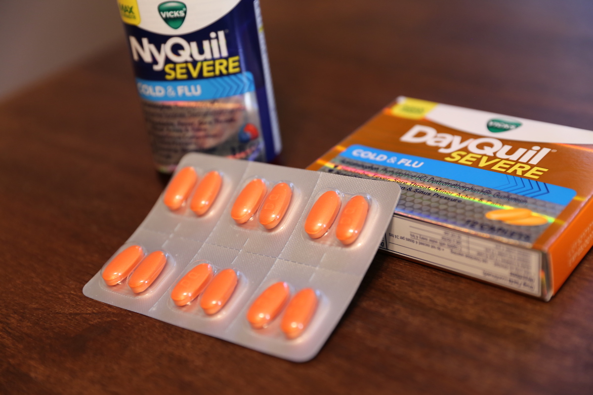 Closeup of DayQuil Severe tablets