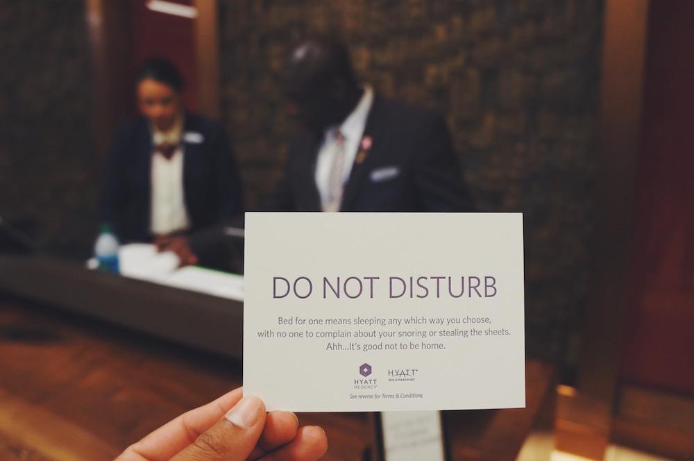 Do Not Disturb #GetCarded Campaign at Hyatt Regency
