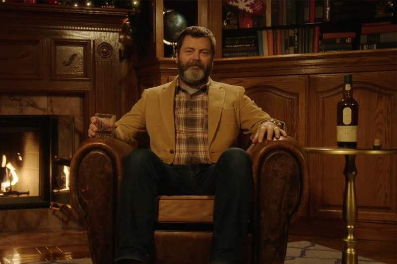Nick Offerman 'Yule Log' Whisky Sipping