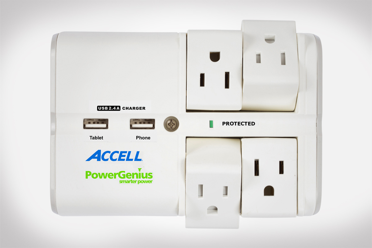 PowerGenius™ Rotating 4-Outlet Surge Protector with Dual USB Charging