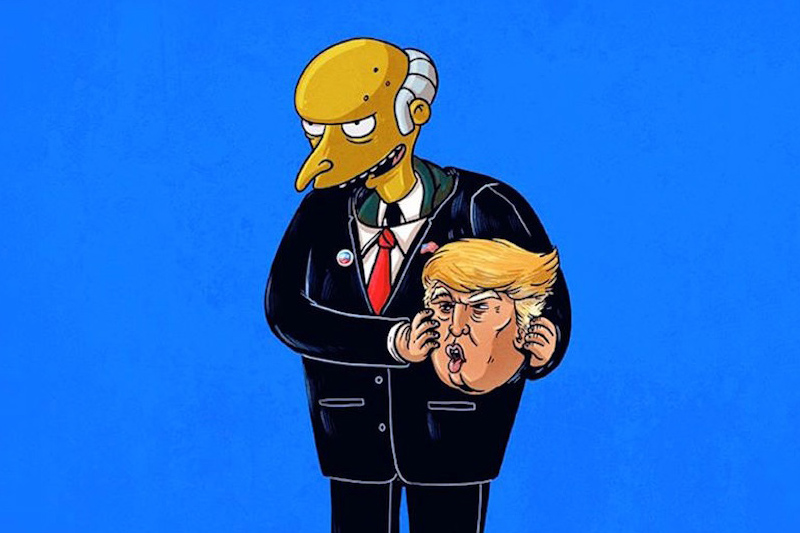 Donald Trump Mask Worn by Mr. Burns from The Simpsons