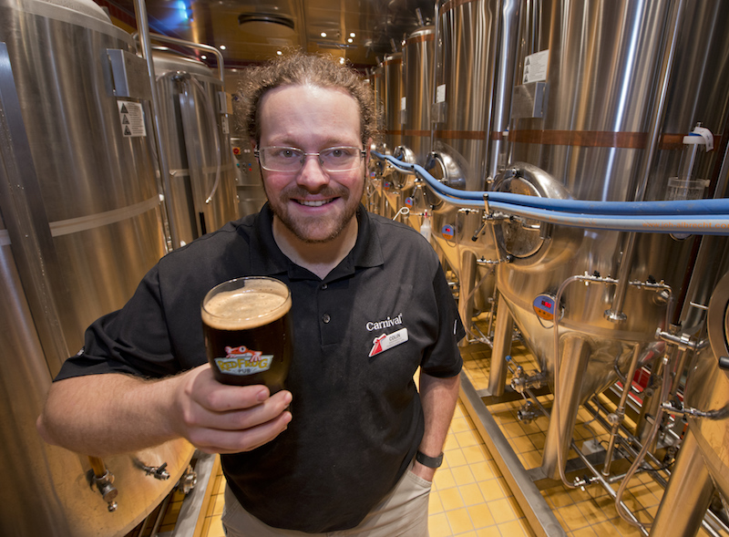 Jon Carpenter brewing craft beer on board the Carnival Vista