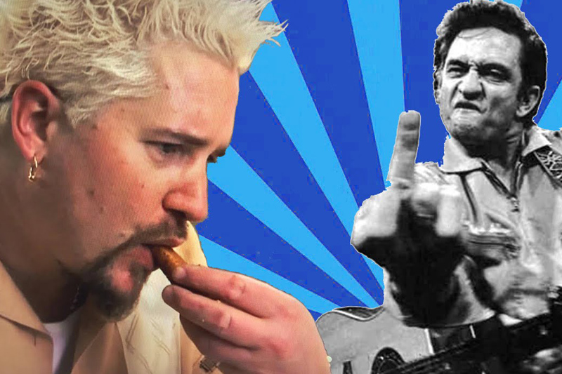 Guy Fieri eating to Johnny Cash