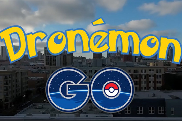 Pokemon GO played from a drone