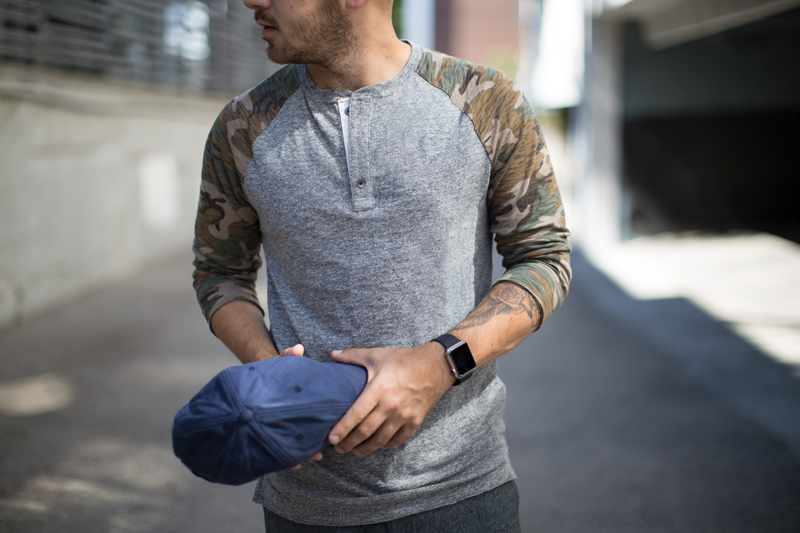 Camo Sleeve Baseball Henley from Express Men