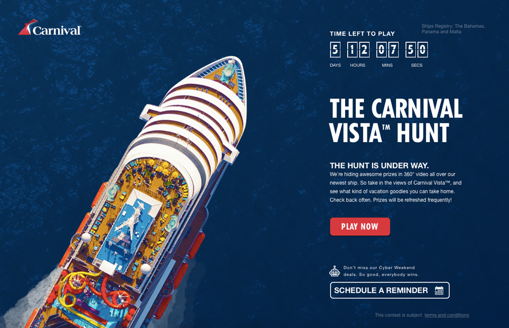 Carnival Vista Hunt Game