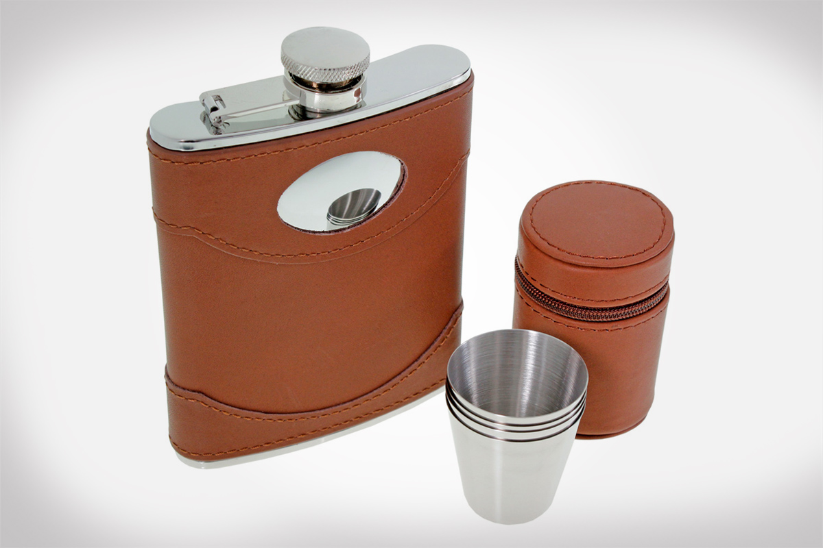 Spanish Leather Hip Flask Set