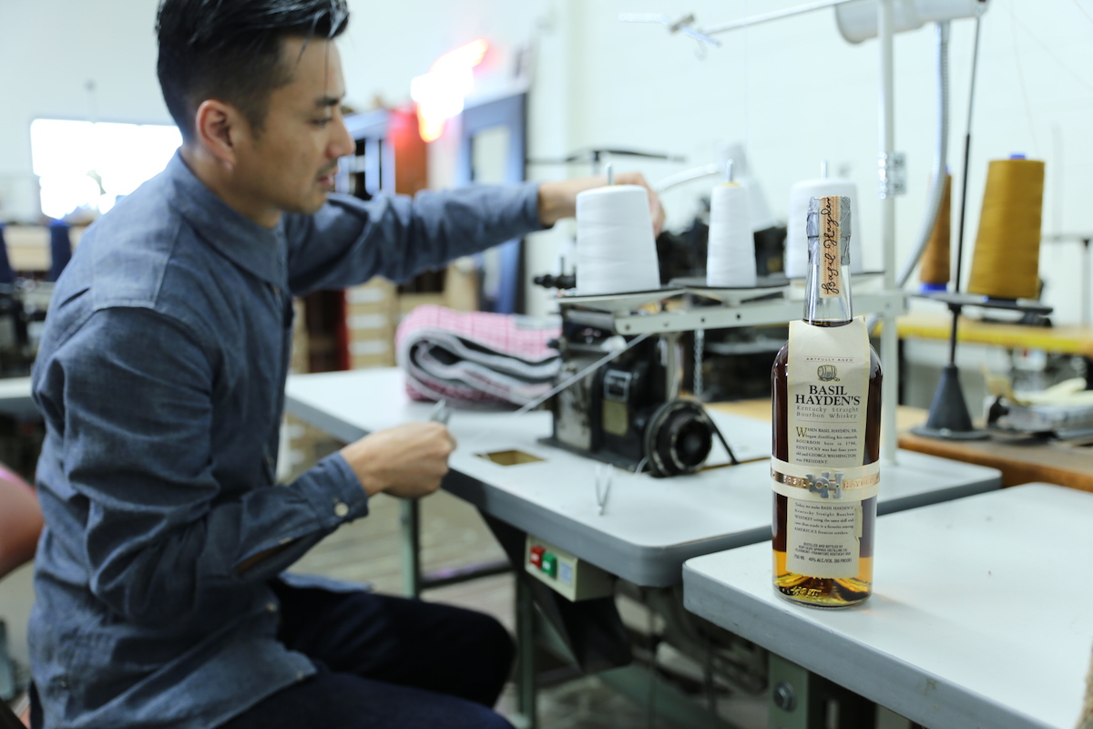 Steven Dang working on the Sidekick Blanket collaboration with Basil Hayden's Bourbon