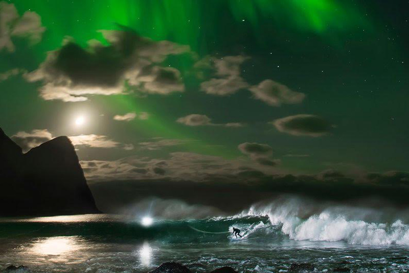 Surfing Under the Northern Lights