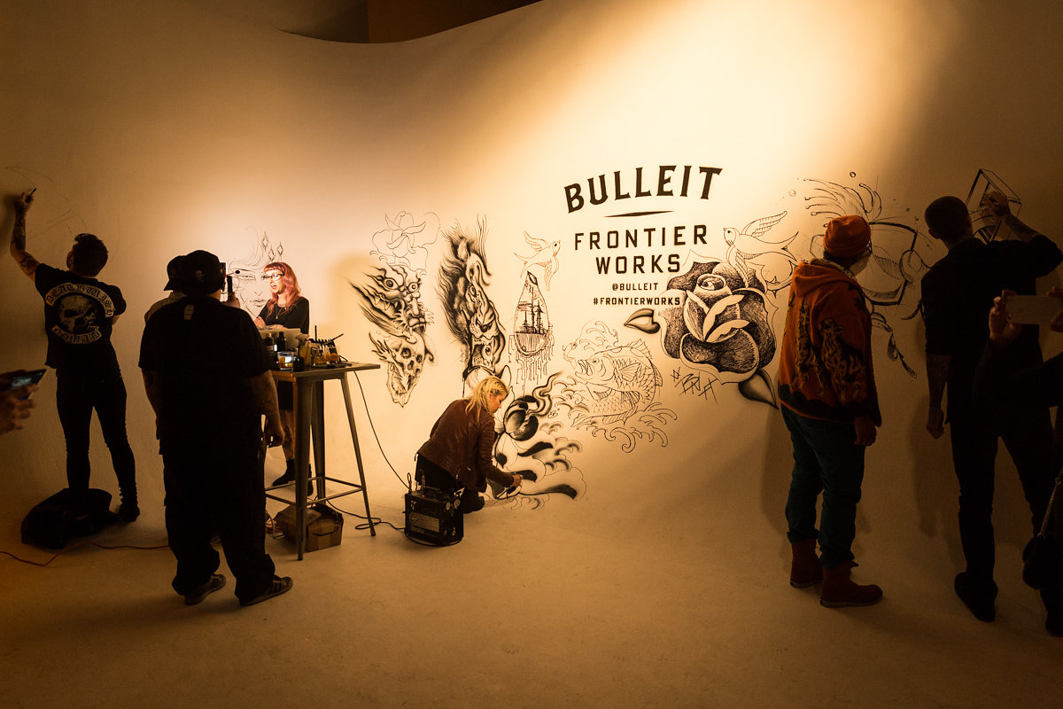 Bulleit Frontier Works Airbrush Tattoo Wall