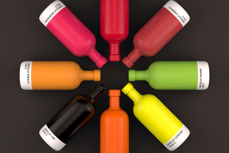 Absolut Bottles in Pantone