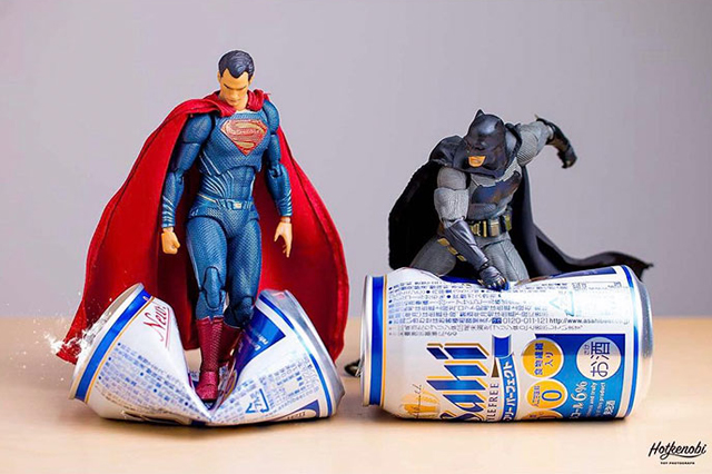 Hot.kenobi Batman and Superman crushing cans