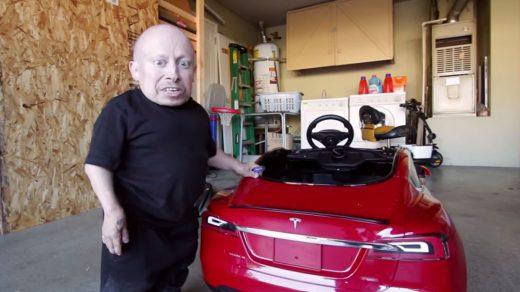 Verne Troyer test drives a new mini Tesla Model S
