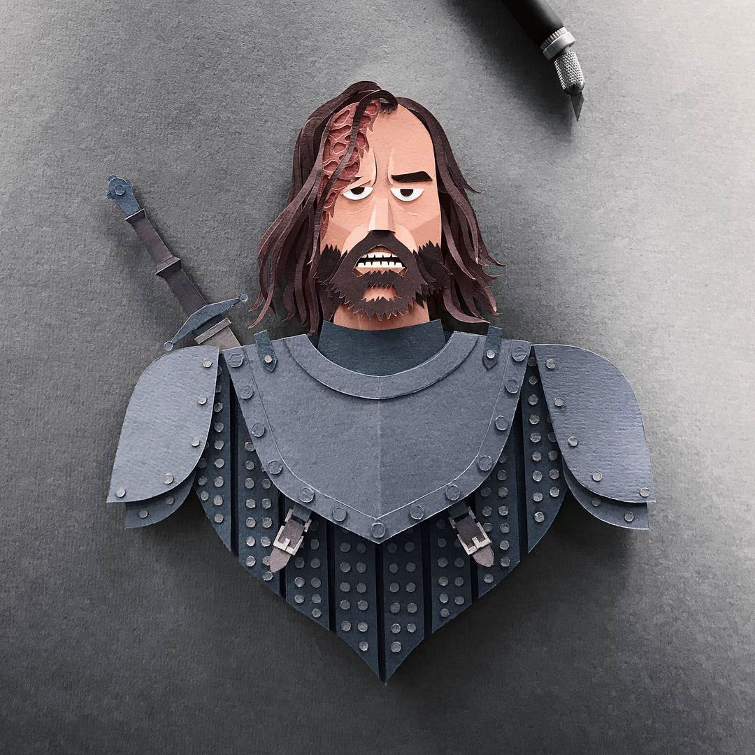 Ser Sandor 'The Hound' Clegane Gregorio Game of Thrones Papercut