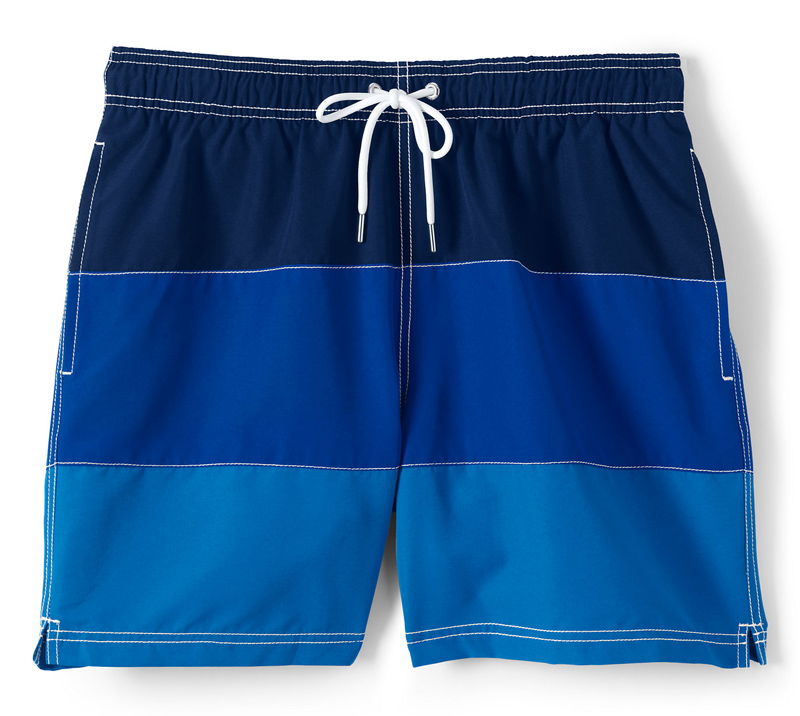 Lands' End Stripe Colorblock Volley Swim Shorts