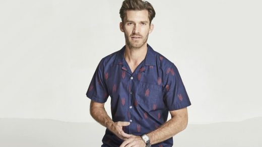 Todd Snyder Short Sleeve Indigo Jacquard Camp Collar Shirt