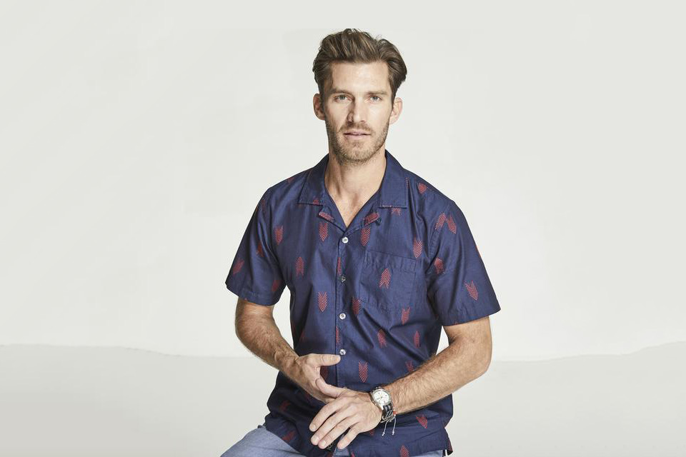 Todd Snyder Short Sleeve Indigo Jacquard Camp Collar Shirt