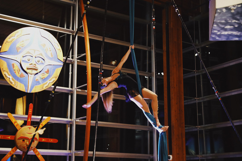 Aerialist performing at the Craft Cultures: Sea, Land, Sky Event