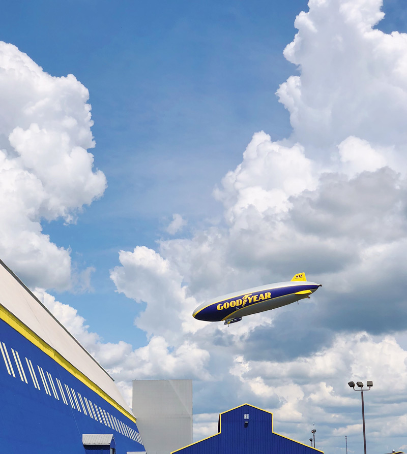 A shot of the Goodyear Blimp in Akron, OH