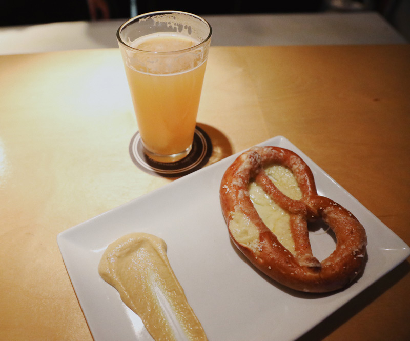 IPA and Pretzel at HandleBar in Whistler