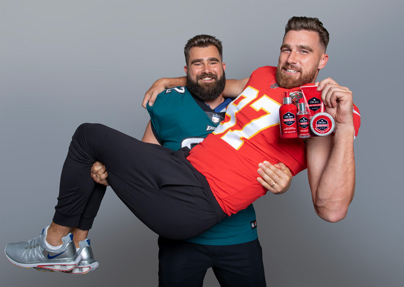 Jason Kelce and his brother Travis Kelce as Old Spice Guys