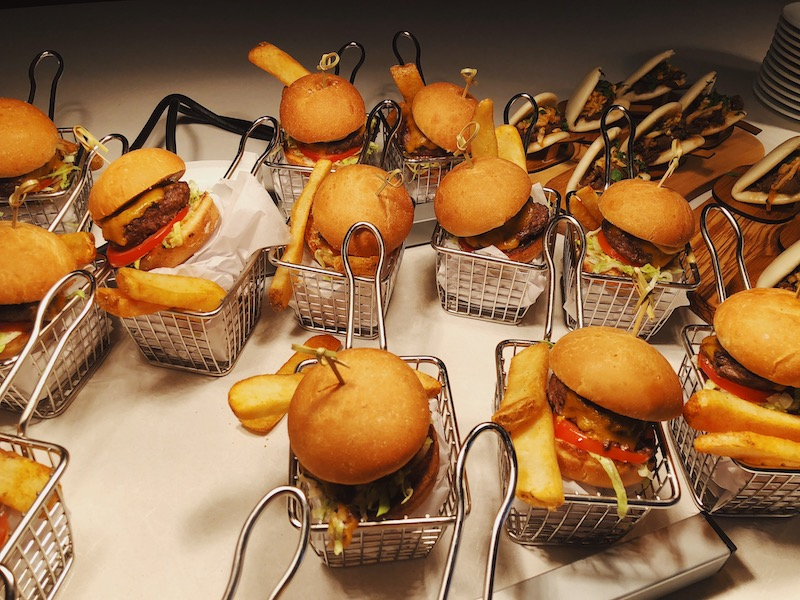 Mini sliders and fries