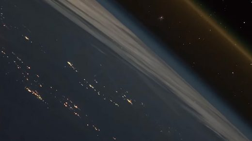 Time-lapse of a spaceship leaving earth