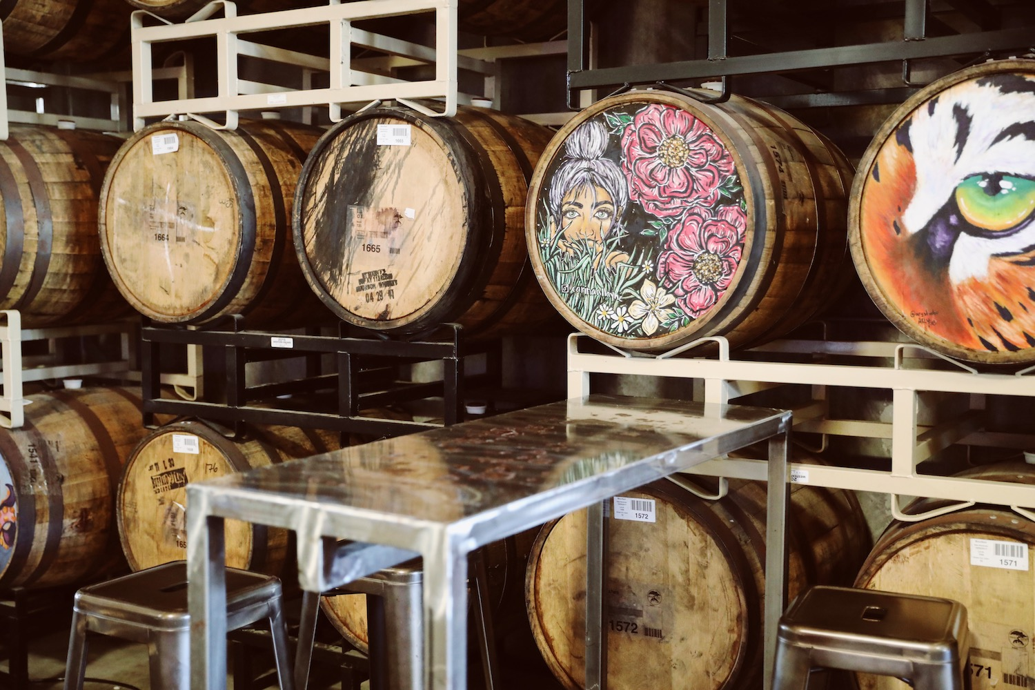 Colorful artistic barrels at Smog City Brewery & Taproom