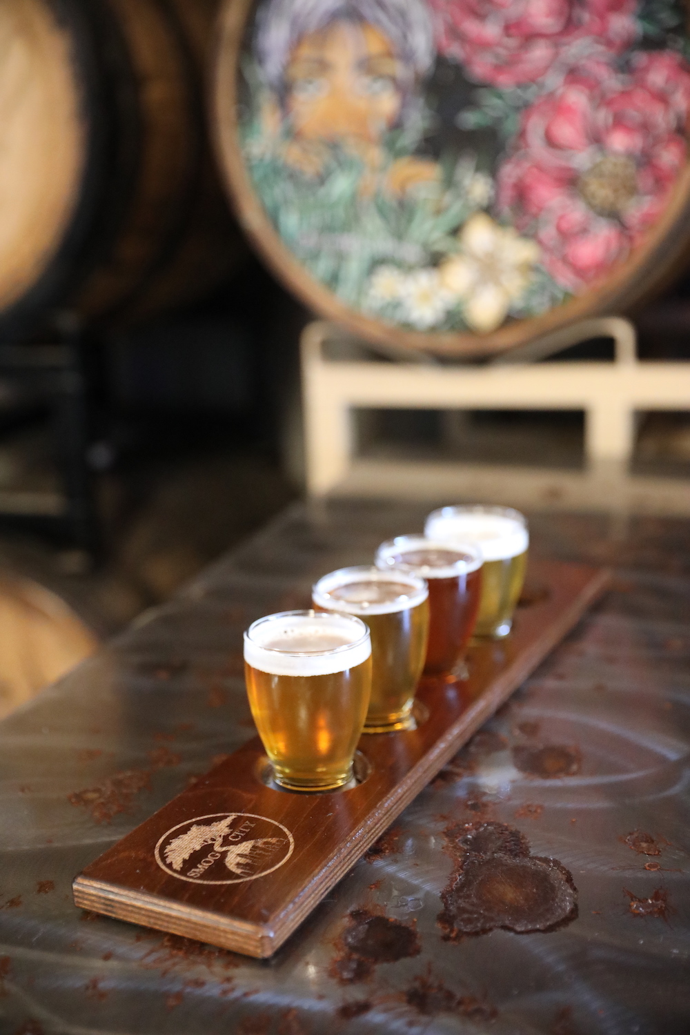 Beer flights at Smog City Brewery & Taproom