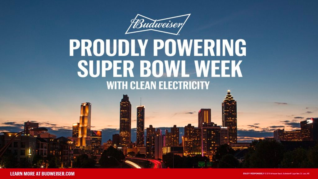 Budweiser powers Super Bowl 2019 in Atlanta with renewable energy