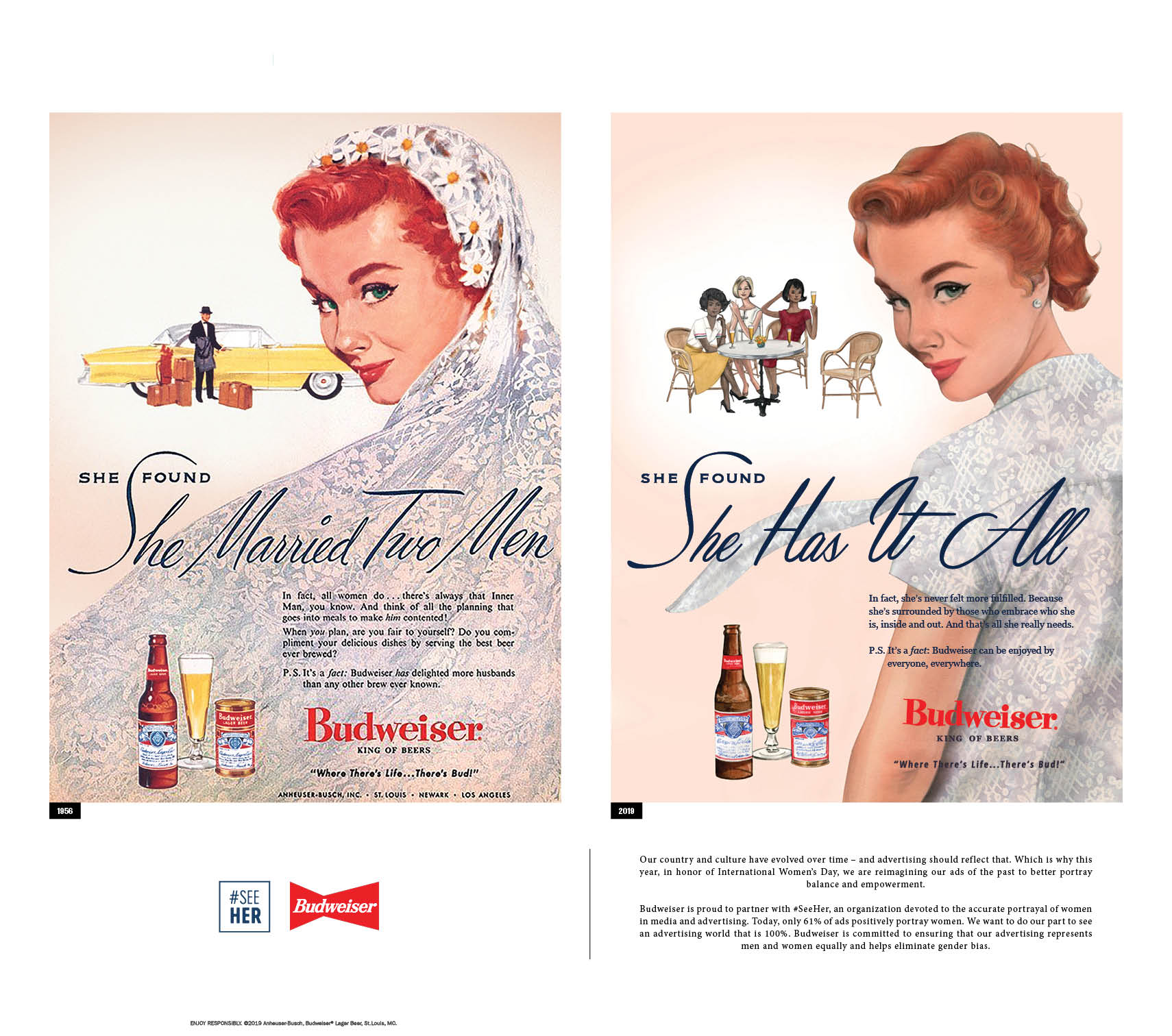 Budweiser recreated ads from the 1950s