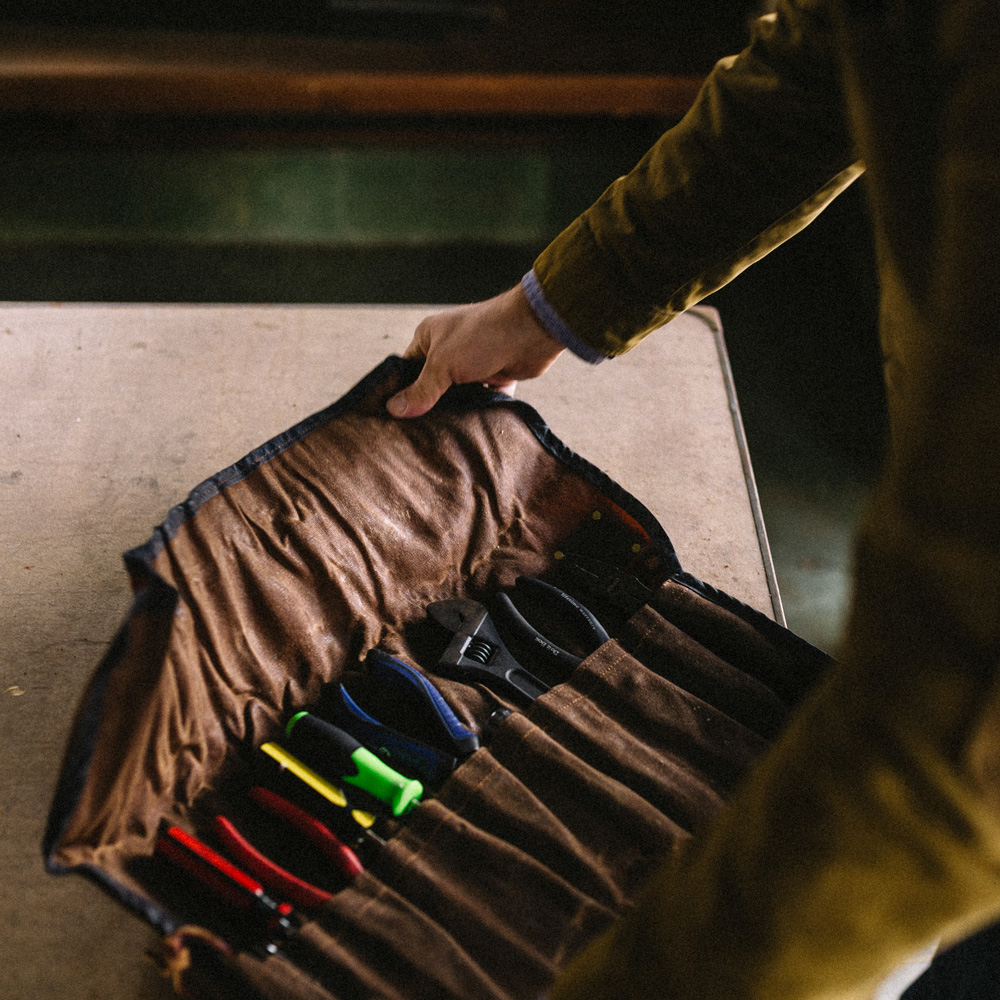 The Orville Waxed Canvas Tool Roll from The Sturdy Brothers