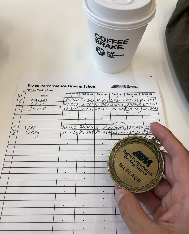 My first place medal and track time at BMW Performance Driving School