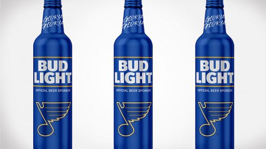Bud Light limited edition St. Louis Blues bottles