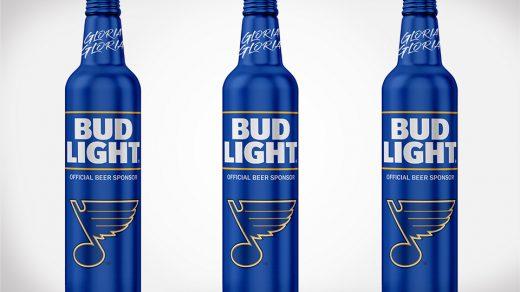 Bud Light limited edition St. Louis Blues bottles