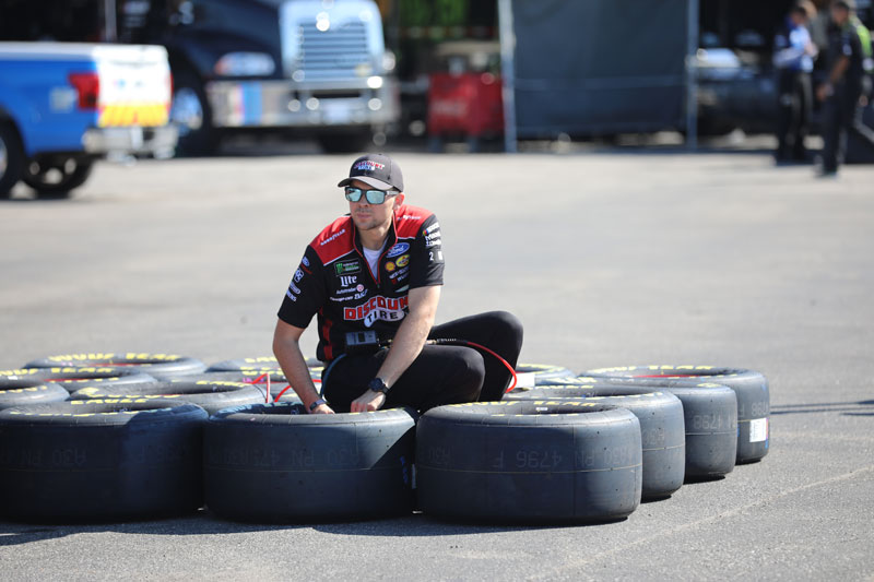 Checking the Goodyear tires at the race