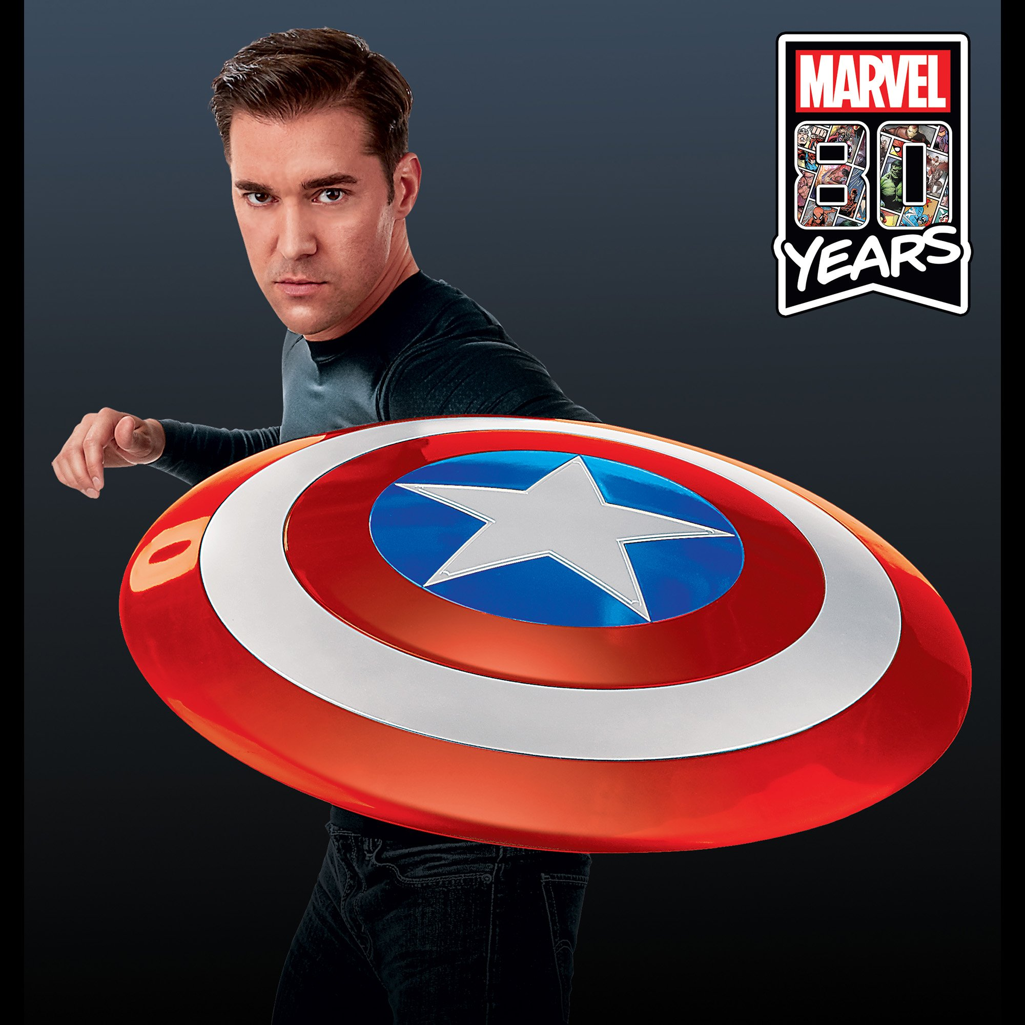 Captain America shield created for Marvel's 80th anniversary celebration