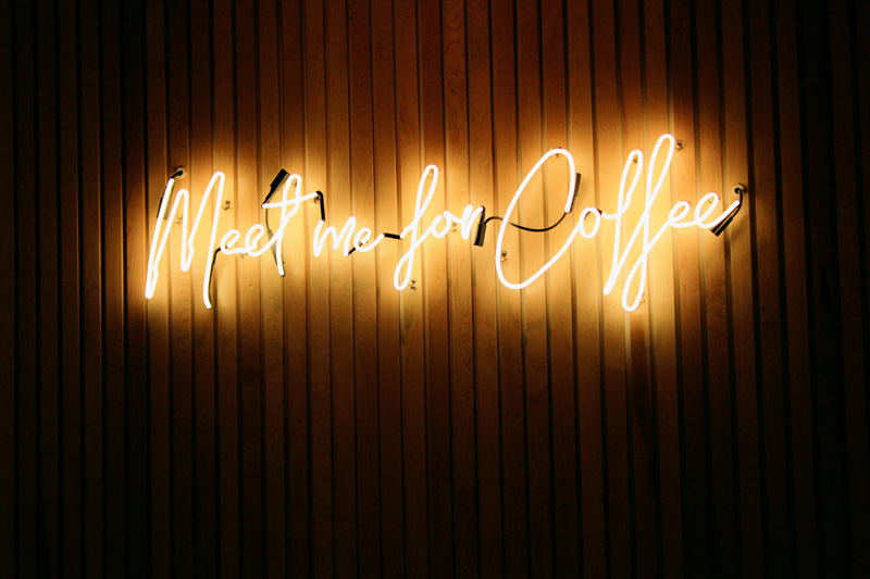 Meet me for coffee neon sign
