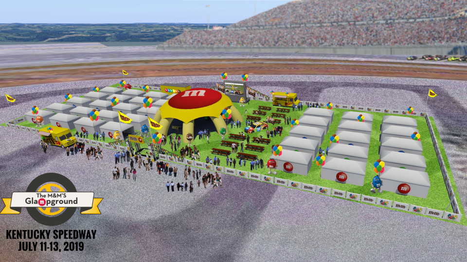 A 3D render of the M&M's Glampground